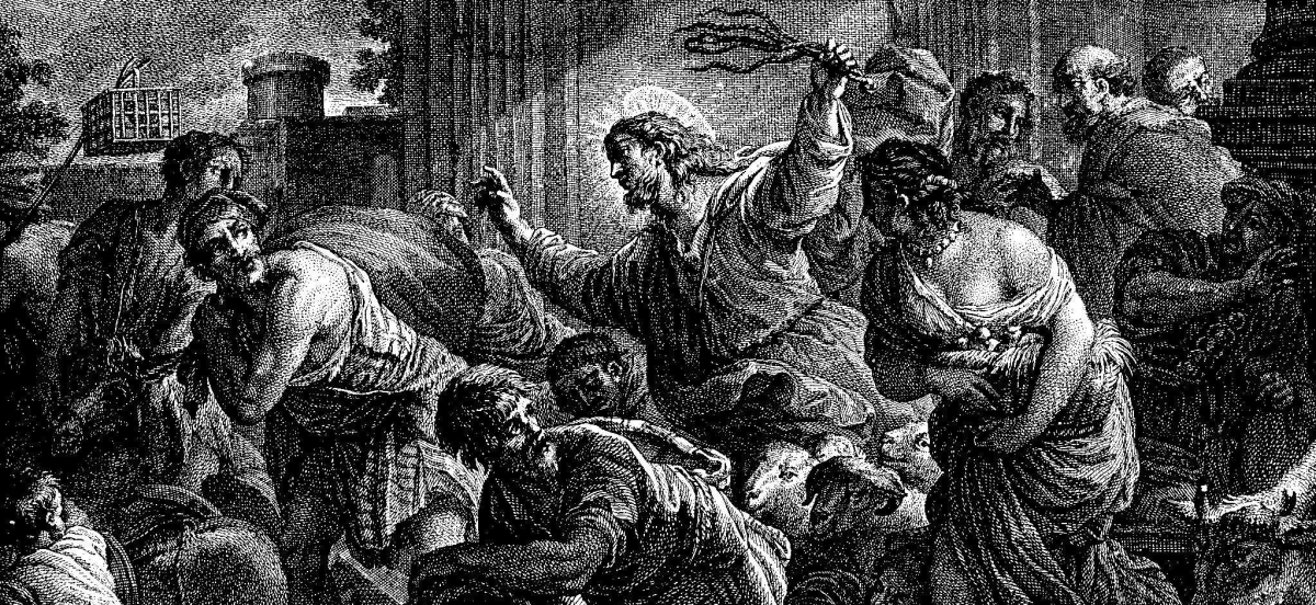 Black and white ink drawing of Christ purging the temple by Luca Giordano